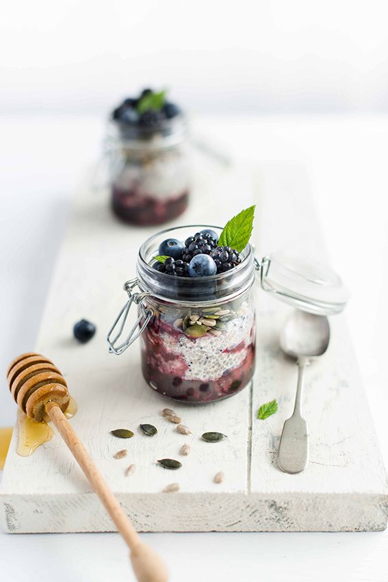 Blueberry, Chia and Quinola pudding recipe