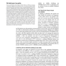 Parution dans le Magazine Agra Alimentation, Octobre 2016