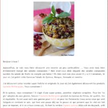 Parution sur le Blog Faim d'Aromes, Septembre 2015
