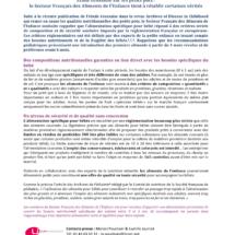 Communiqué de Presse SFAE Aliment de l'Enfance, Septembre 2016