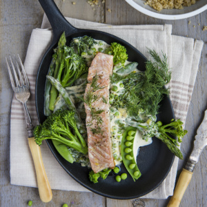 salmon with creamy spring vegetables_750